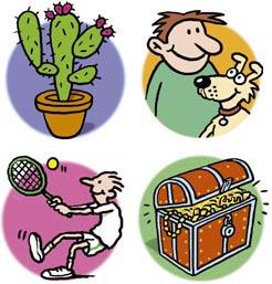 Cartoon: Cactus dog tennis treasure (medium) by Ellis Nadler tagged cactus,dog,tennis,treasure,plant,pet,smile,game,ball,racket,chest,gold