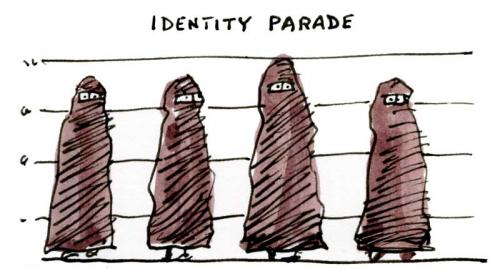 Cartoon: Police line-up (medium) by Ellis Nadler tagged identity,police,women,burkha,eyes