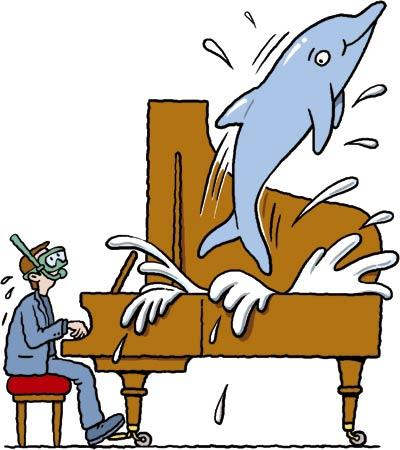 Cartoon: Dolphin piano (medium) by Ellis Nadler tagged music,piano,jazz,grand,lid,splash,water,dolphin,jump,pianist,diver,snorkel,mask,stool,performance,concert