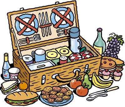 Plates cutlery basket picnic fruit vegetables drink bottle sandwich