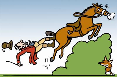 Cartoon: Fox hunt (medium) by Ellis Nadler tagged fox,hunt,fall,horse,rider,accident,hedge,animal,saddle,jump