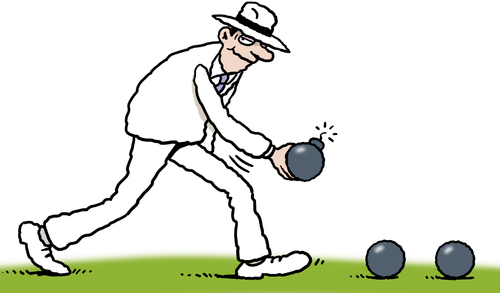 Cartoon: The Bowls Bomber (medium) by Ellis Nadler tagged bowls,bomb,bomber,game,sport,lawn,panama,hat,sinister