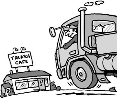 Cartoon Cafe Cartoon Truckers Cafe