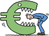 Cartoon: euro monster (small) by Ellis Nadler tagged euro,debt,crisis,finance,monster,teeth,deficit,currency,man