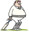 Cartoon: Fat cricketer (small) by Ellis Nadler tagged fat,cricket,bat,england,pads,moustache