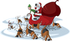 Cartoon: Santas Beagles (small) by toonerman tagged santa,christmas,sled,cartoon,elf,reindeer,beagles,dogs,sniffing,hounds,tracking,snow,bag,toys,eve,holiday,clause