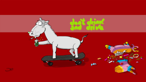 Cartoon: dont drink and drive (medium) by Grikewilli tagged pinata,alcohol,drunk,tipsi,sweets,beer,accident,ass,horse,skateboard,drive,pferd,esel,bier,sport,extremsport,alkohol,betrunken,auto,fahren,süßigkeiten,lutscher,bonbons,kaugumi,verkehr,straße,mexico,america,usa,spain,fiesta,feier,party,unfall,tradition