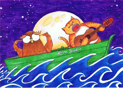 Cartoon: Alternative Owl and Pussy Cat (medium) by Kerina Strevens tagged cat,feline,owl,bird,sea,boat,sail,water,nursery,rhyme,children