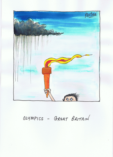 Cartoon: British Olympics (medium) by Kerina Strevens tagged sport,humour,fire,games,olympics,cold,wind,rain,weather,flame