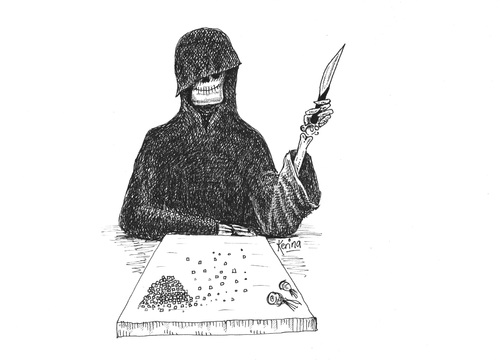 Cartoon: Dicing With Death (medium) by Kerina Strevens tagged grim,death,reaper,dicing,knife,die,cook
