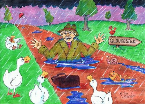 Cartoon: Doctor Foster (medium) by Kerina Strevens tagged rain,water,shower,wet,ducks,puddle,nursery,rhyme,children