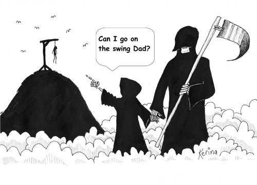 Cartoon: Hanging Around (medium) by Kerina Strevens tagged death,grim,reaper,swing,hang,hill