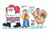 Cartoon: Happy Christmas 2012 (small) by Kerina Strevens tagged father christmas santa turkey xmas diet chimney