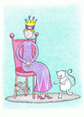 Cartoon: Visiting the Queen (small) by Kerina Strevens tagged children,nursery,rhyme,queen,mouse,chair,london,cat