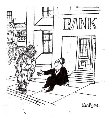 Cartoon: Begging Bank (medium) by Ken tagged bank,drama,finanzkrise,börse,crash,pleite,krise,finanzen,banken,bank,geld,bankensterben,fusion,wirtschaftskrise,wirtschaft,kredite,kredit,wall street,friedhof,finanzmarkt,lehman brothers,finanzinstitut,institut,bank of america,deutsche bank,credit suisse,ubs,barclays,morgan stanley,citibank,goldman sachs,jpmorgan,merrill lynch,hilfe,sterben,untergang,katastrophe,notenbank,usa,wall,street,lehman,brothers,of,america,deutsche,credit,suisse,morgan,stanley,goldman,sachs,merrill,lynch,zentralbank,rezession,konkurs,bankrott,armut,obdachlosigkeit,obdachloser,betteln