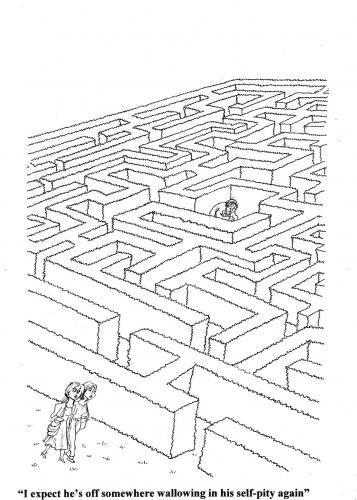Cartoon: Maze (medium) by Ken tagged self,pity,in,maze,kummer,selbstmitleid,mitleid,labyrinth,ausweglosigkeit,trauer,sackgasse,psyche