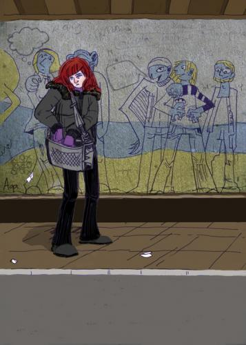 Cartoon: Girl (medium) by Manka tagged illustration,city,people,girl,drawing