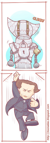 Cartoon: Harry Houdini (medium) by Freelah tagged illusionist,magicians,escapology,stunt,performer