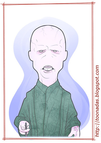 Cartoon: Ralph Fiennes - as Voldermort (medium) by Freelah tagged hallows,deathly,potter,harry,voldermort,fiennes,ralph