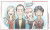 Cartoon: Lost in Translation (small) by Freelah tagged bill,murray,anna,faris,scarlett,johansson,umihiro,hayashi,lost,in,translation