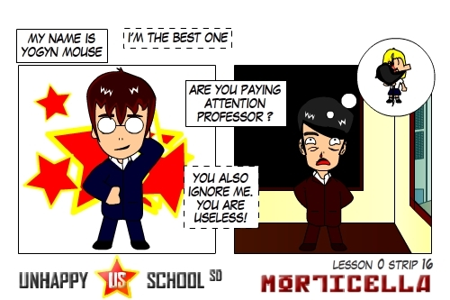 Cartoon: US lesson 0 Strip 16 (medium) by morticella tagged uslesson0,unhappy,school,morticella,manga