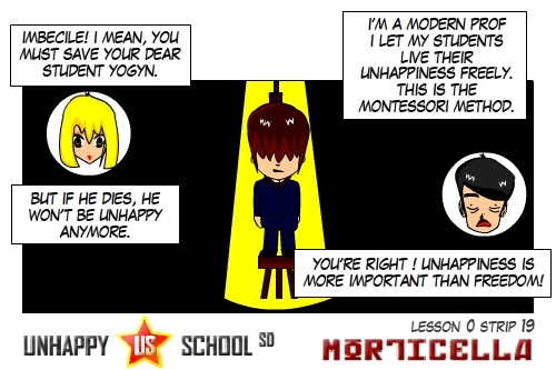 Cartoon: US lesson 0 Strip 19 (medium) by morticella tagged uslesson0,unhappy,school,morticella,manga