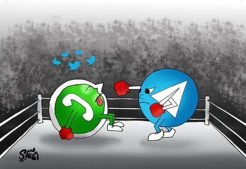 Cartoon: Telegram VS WhatsApp alasmri (medium) by hussein alasmri ...