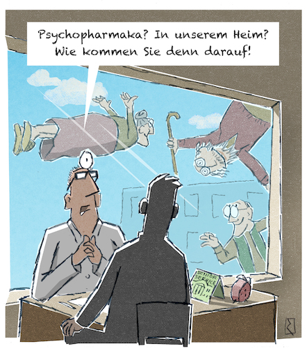 Cartoon: Psychopharmaka (medium) by Jan Rieckhoff tagged altersheim,senioren,alter,alt,heim,residenz,pflege,tabletten,sedativum,beruhigungsmittel,medikamente,medizin,psychotrop,psychoaktiv,psychedelisch,psychopharmaka,pharmazie,pharmazeutikum,therapie,medikation,wirkung,arzt,pfleger,pflegepersonal,überforderung,betreuung,altersheim,senioren,alter,alt,heim,residenz,pflege,tabletten,sedativum,beruhigungsmittel,medikamente,medizin,psychotrop,psychoaktiv,psychedelisch,psychopharmaka,pharmazie,pharmazeutikum,therapie,medikation,wirkung,arzt,pfleger,pflegepersonal,überforderung,betreuung
