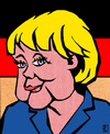 Cartoon: Angela Merkel (small) by Jan Rieckhoff tagged kanzlerin,deutschland,merkel,angela,kunst,stil,roy,lichtenstein,comic,cartoon,portrait,jan,rieckhoff