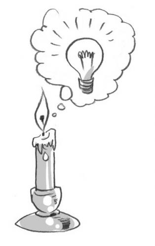 Cartoon: brilliant! (medium) by r8r tagged think,thought,idea,candle,light,bulb,inspiration,inspire,revelation,reveal