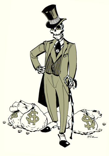 Cartoon: Merchant Banker (medium) by r8r tagged money,cash,gold,skeleton,death,banker,bankster,dollar,euro,finance,wall,street,bourse,stock,market