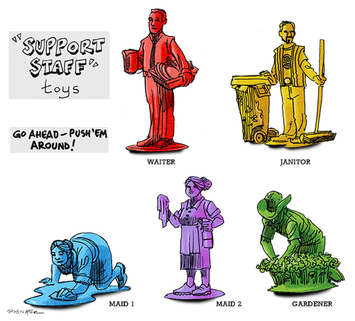 Cartoon: Support Staff plastic toys (medium) by r8r tagged toy,plastic,play,playset,soldier,maid,gardener,janitor,waiter,immigrant,citizenship,usa,guest,worker