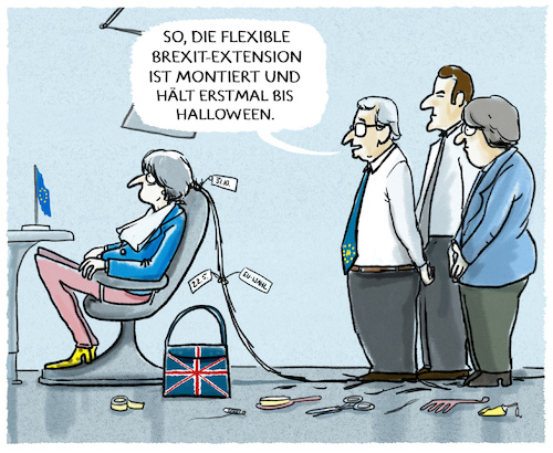 Cartoon: ...Flexi-Extension... (medium) by markus-grolik tagged brexit,termin,aufschub,bruessel,maytheresa,may,minister,london,eu,europa,england,kabinett,alternativen,deal,nordirland,backstop,halloween,macron,merkel,flexi,extension,brexit,termin,aufschub,bruessel,maytheresa,may,minister,london,eu,europa,england,kabinett,alternativen,deal,nordirland,backstop,halloween,macron,merkel,flexi,extension