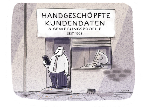 Cartoon: geschäftsmodell (medium) by markus-grolik tagged daten,kundendaten,big,data,überwachung,bewegungsprofile,datenschutz,verbraucher,verbraucherschutzsmartphone,tablet,grolik,cartoon