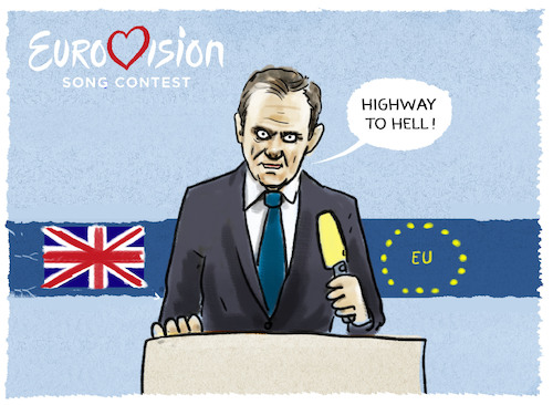 Cartoon: ...höllischer Tusk (medium) by markus-grolik tagged tusk,brexit,may,brüssel,london,backstop,europa,wahlen,tusk,brexit,may,brüssel,london,backstop,europa,wahlen