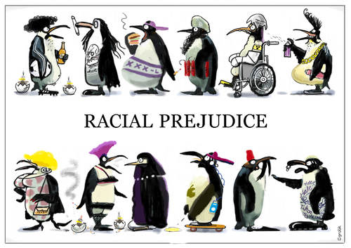 Cartoon: wildlifestudies (medium) by markus-grolik tagged grolik,cartoon,prejudices,prejudges,popular,life,city,birds,polar,shirt,penguins,tolerance,tags