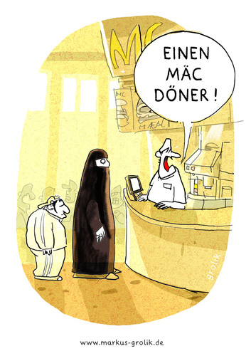 Cartoon: Mac Döner (medium) by markus-grolik tagged integration,fast,food,schnellrestaurant,döner,doener,burka,türkei,türke,türkin,deutschland,imbiss,verzehr