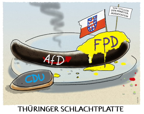 Cartoon: Mahlzeit... (medium) by markus-grolik tagged thüringen,machtkampf,ramelow,wahl,union,liberale,abkehr,dammbruch,rechtspopulisten,nationalisten,faschisten,regierung,ministerpraesident,kemmerich,hoecke,stimmen,thueringer,schlachtplatte,mahlzeit,afd,fdp,cdu,intrigen,wahlgang,bodo,linke,thueringen,koalition,thüringen,machtkampf,ramelow,wahl,union,liberale,abkehr,dammbruch,rechtspopulisten,nationalisten,faschisten,regierung,ministerpraesident,kemmerich,hoecke,stimmen,thueringer,schlachtplatte,mahlzeit,afd,fdp,cdu,intrigen,wahlgang,bodo,linke,thueringen,koalition