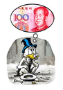Cartoon: Dollar meets yuan (small) by markus-grolik tagged china,usa,amerika,vereinigte,staaten,finanzen,finanzmarkt,staatsanleihen,geld,kohle,macht,kraefteverteilung,international