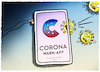 Cartoon: Download (small) by markus-grolik tagged warnapp,corona,medienkompetenz,medien,app,ansteckung,warnung,freundinnen,follower,positiv,alarm,virus,groko