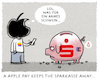 Cartoon: ...kwitt... (small) by markus-grolik tagged applepay,digital,pay,google,ec,giro,ssparkassen,geld,finanzen,raiffeisen,bank,bargeld