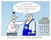 Cartoon: Synergie-Effekt (small) by markus-grolik tagged opel,gmpeugeot,frankreich,rüsselsheim,auto,autobauer,selbstfahrend,technik,innovation,usa,us,google,tesla