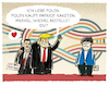 Cartoon: Trump sales.. (small) by markus-grolik tagged polen,europa,g20,trump,rüstung,deal,nato,deutschland,merkel,usa,krieg,militär,wirtschaftarmee