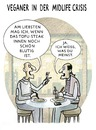 Cartoon: VEGETARISCHER BURN-OUT (small) by markus-grolik tagged midlife crisis krise mittagspause menu essen tofu steak fast food veganer vegetarisch vegetarier fleisch rohkost