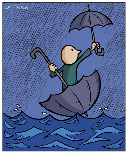 Cartoon: Floods (medium) by Juan Carlos Partidas tagged floodings,flooding,floating,float,umbrella,waters,water,storm,rain,floods,flood