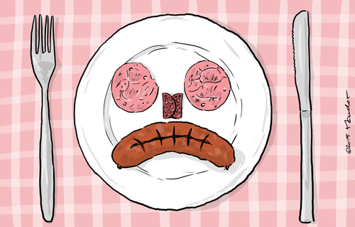 Cartoon: It used to smile on me (medium) by Mandor tagged sausage,meat,cancer,risk