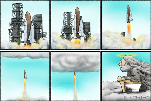 Cartoon: The very last mission (medium) by Mandor tagged space,shuttle,last,mission