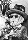 Cartoon: JOHN LEE HOOKER Shh  in Paradise (small) by paula salar tagged john lee hooker music blues paradies sounds bar pub universe genius art culture young old humanity black white poetry hat glasses slow love life humor graphic draw lines cartoon woman choir america guitar happy feelings tv romania salar paula