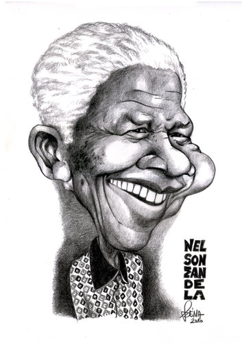 Cartoon: Nelson Mandela (medium) by Szena tagged süd,afrika,apartheid,nelson,mandela,caricatur