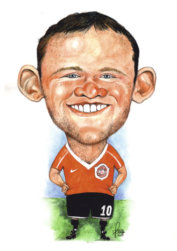 Wayne Rooney Caricature Cartoon Wayne Rooney medium by Szena tagged rooney football english